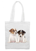 Jack Russell Puppies Cotton Shoulder Shopping Bag