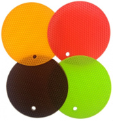 iNeibo Kitchen Silicone Round Honeycomb Trivet Mat - Pack Of 4 - Varying Bright Jelly Colour - Multi-purpose, Can Be Used As Pot Holder, Hot Pad, Coaster, Drying Mat, Jar Opener - Heat Resistant & Easy To Wash