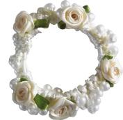 Pearl & Rose Bun Ring Scrunchie Hair Garland Bridesmaid