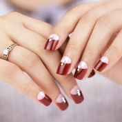 Bling Art False Nails French Manicure Red Crystal Full Cover Medium Tips UK
