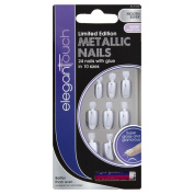 Elegant Touch Molten Silver Metallic Nails Pack of 24 Nails