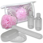 JODA Clear PVC Travel Bath Set with Soap Box, Toothbrush Box, Small Pink Bath Mop and 2 Bottles