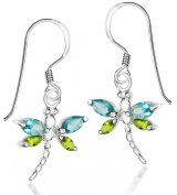 Tuscany Silver Aqua and Green Crystal Dragonfly Drop Earrings