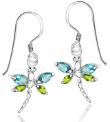 Tuscany Silver Aqua and Green Crystal Dragonfly Drop Earrings