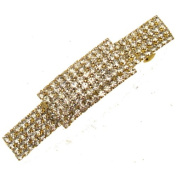 Acosta Accessories - Clear Diamante Crystal - Gold Tone Elegant Hair Barrette Slide / Clip / Accessory - Gift Boxed