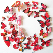 12pcs Art Decal Home Room Wall PVC Stickers 3D Butterfly Sticker Decorations