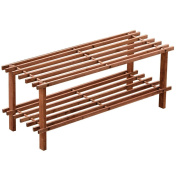 Home Discount 2 Tier Slated Wood Storage Organiser Shoe Stand Rack, Walnut.