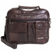 Lorenz Men's Unisex Brown Leather Travel Multi Pocket Bag