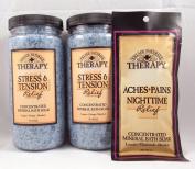 Village Naturals Stress & Tension Mineral Bath Soak - TWO 590ml Bottles