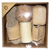 Luxury Spa Bath Gift Set with Slippers, Loofah, Bath Puff & Bath Sponge