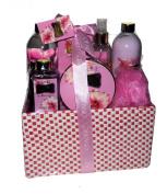 Red Plum and Freesia Pure Perfection Premium Bath Spa Gift Set, Shower Gel, Body Lotion, Body Essence, Bubble Bath, Body Scrub, Bath Salt, Bath Puff in a Straw Gift Basket