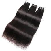 Ali Queen 7A Grade Brazilian Virgin Hair Straight, Mixed Length 3 Bundles/Pack Natural Black Virgin Human Hair Extensions
