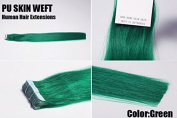"""New Arrival! 20pcsX20"""" Tape in Skin Weft Human Hair Extensions Colour:Green"""