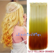 White blonde to yellow to orange three Colours Ombre hair extension, Synthetic Hair extensions UF216