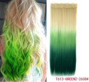 White blonde to green three Colours Ombre hair extension, Synthetic Hair extensions UF212