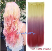 White blonde to pink three Colours Ombre hair extension, Synthetic Hair extensions UF210