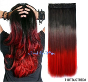 Black to burgundy to Red three Colours Ombre hair extension, Synthetic Hair extensions UF208
