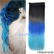 Black to blue to sky blue three Colours Ombre hair extension, Synthetic Hair extensions UF206