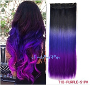 Black to purple to grape purple three Colours Ombre hair extension, Synthetic Hair extensions UF204