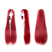 HuntGold 1X Long Straight Cosplay Wig 100cm Sweet Girl Hairpiece Tilted Frisette