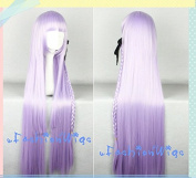 Dangan Ronpa Kyouko Kirigiri Cosplay Wigs, 100cm Light Purple Costume Wigs for Party UF044