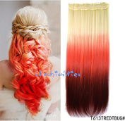White blonde to red to burgundy three Colours Ombre hair extension, Synthetic Hair extensions UF215