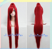 100cm Long X Men Red Blink Cosplay Wigs with a Ponytail, Costume Anime Wig for Party UF064