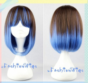 40cm Long Brown and Blue Ombre Multi Colour Beautiful Lolita Anime Wig, Cosplay Wig, Costume Wigs UF041