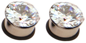 Thenice 1 Pair Large Zircon Medical Steel Pulley Ear Expansion Earrings