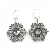 Antique Silver Tone Faceted Glass Stone Flower Lever Back Earrings