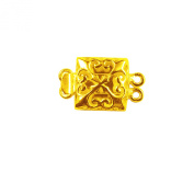 18K Gold Overlay Double Strand Clasp-CG-418-18X12MM