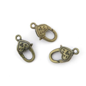 Price per Lot 5 Pieces Antique Bronze Jewellery Making Charms Findings Supplies Craft Schmuckteile 21134 Heart-shaped Lobster Clasps