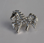 Lovely Silver Tone Mini Horse Shape Shiny Crystal Rhinestone Fashion Jewellery Brooch Pin