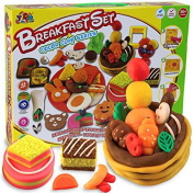 3D Creative Dough Clay Pretend Play Educational Toy DIY Silly Putty Tools Mould Set for Children, Breakfast