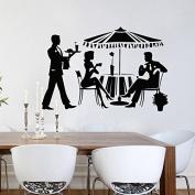 Wall Decals Interior Decor Art Cocktail Meals Girl Man Waiter Food Fashion Drinking Relax Decal Vinyl Sticker Kitchen Cafe Restaurant Gift Home Decor Murals ML35