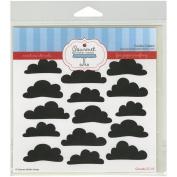 Gourmet Rubber Stamps Stencil 15cm x 15cm -Clouds