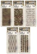 Tim Holtz - Early 2015 Release - Stencils Set 3 - Mesh, Tiles, Travellers, Tracks & Treads - 5 Item Bundle