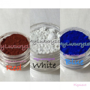 10g Lot of 3 Dark Brick Red White Blue Pigment Powder Colourants for Melt & Pour Soap, Salts, and Lotion Making 10 Gramme Jar Samples