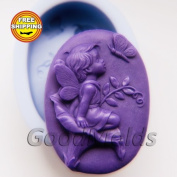 The Kid on Flower 2 Soap Mould Silicone Moulds Mould for Soap Mould Angel Mould Silicone Mould Child Mould Baby Mould