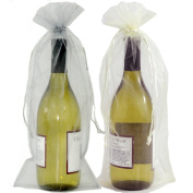 20 Designer Wine Organza Fabric Gift Bags Party Gift Bags Large 38cm By 17cm in Silver & Beige