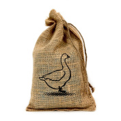 Goose, Customised 15cm X 25cm Burlap Party Favour Bag with Drawstring - Set of 10