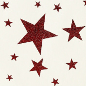 Holiday Gift Wrap - Red Glitter Stars on Cream Wrapping Paper