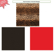 Premium Birthday or All Occasion Gift Wrap Heavy Weight Leopard Aligator Black Red Gloss Finish Wrapping Paper for Women Girls 3 Different Designs of 1.5m X 80cm Rolls / Per Pack Set Included!