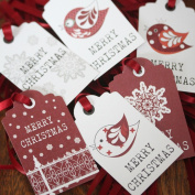 Luck and Luck Christmas Tags 'Merry Christmas' With Birds Snowflake X 6 Xmas Gift Tags