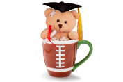 Adorable Grad Bear In a Football Mug Graduation Gift Set