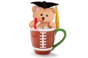 Adorable Grad Bear In a Football Mug Graduation Gift Set