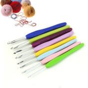 HeroNeo® 8 Size Multicolor Soft Silicone Handle Aluminium Crochet Hooks Knitting Needle