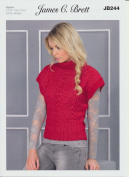 James C. Brett Womens Knitting Pattern Ladies Roll Neck Short Sleeved Sweater