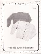 Yankee Knitter Designs Knitting Pattern #8 Mock Cable Pullover & Cardigan
