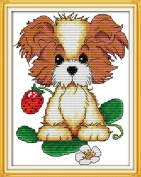 AngelGift Needlecrafts Stamped Counted Cross Stitch, Animal - Puppy and Strawberry